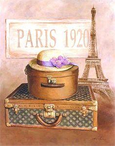 Paris - 1920 ~ Fine-Art Print - Luggage Art Prints and Posters - Accessories Pictures Illustration Parisienne, Paris Illustration, Posters Vintage, Vintage Labels, Decoupage Vintage, Decoupage Paper, Vintage Paris, Vintage Box, Scrapbooking Paris