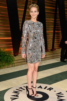 Jennifer Lawrence Vestido corto lleno de espejos de Tom Ford