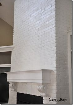 Before and After: my white chalk-painted fireplace how to – Modern brick fireplace Painted Brick Fireplaces, Paint Fireplace, Brick Fireplace Makeover, White Fireplace, Fireplace Mantels, Fireplace Ideas, Paint Brick, Mantles, Brick Wall