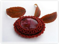 Seed bead brooch Bead Embroidery Brooch  FREE SHIPPING by aigapele, $38.00