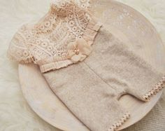 Newborn Romper, Baby Girl Photo Outfit, Lace Romper, Newborn Photo Prop, Vintage Romper, Oatmeal, Newborn Props, Baby Picture Prop