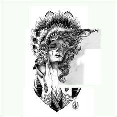 Lion girl tattoo idea