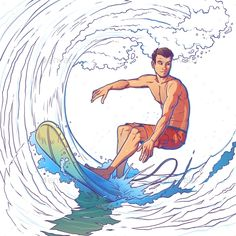Buy Vector Illustration of a Surfer by vectorpocket on GraphicRiver. Vector illustration of a surfer riding a big wave. Print for T-shirts Surf Drawing, Boy Drawing, Surf Boy, Wave Surf, Really Cool Drawings, Sports Drawings, Beach Illustration, Surfing Pictures, Beach Artwork