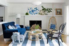 Décorer un salon dans les tons bleus, beiges et blancs pour une ambiance moderne à la maison