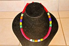 African Zulu Beaded Necklace - RED ROPE NECKLACE -green/yellow/purple/orange by Hadeda on Etsy