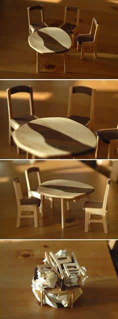 Dinner table and stools. Dollhouse Furniture, Dinner Table, Stools, Chair, Projects, Home Decor, Dinning Table, Benches, Log Projects