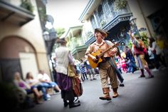 New Orleans Square is filled with Disney Characters, jazzy music, street performers and vibrant excitement during the Bayou Bash in Disneyland Park at the Disneyland Resort
