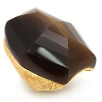 Madeline-Sugar and spice only begin to describe the warm notes of this charming ring. Show off your sweet side when you don this chocolate brown stone in its satin gold setting.  $78 www.jillzarinjewelry.com
