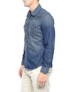 JAKE DENIM SHIRT WITH ICONIC STITCH & SHOULDER YOKE DETAILED - True Religion