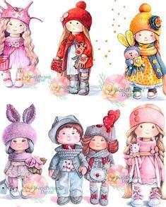 Watercolor clipart tilde dolls set of cartoon girls set of Baby Animal Drawings, Art Drawings For Kids, Cute Drawings, Art For Kids, Cartoon Clip, Girl Cartoon, Doll Drawing, Clip Art, Baby Invitations