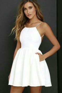 Sexy White Spaghetti Straps Homecoming Dresses, Open Back Mini Prom Dresses – Graduation Dress Sexy Homecoming Dresses, Hoco Dresses, Long Wedding Dresses, Pretty Dresses, Sexy Dresses, Beautiful Dresses, Casual Dresses, Summer Dresses, Elegant Dresses