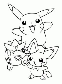 pokemon pikachu and friends coloring pages for kids printable pokemon coloring pages for kids - Kids Colouring