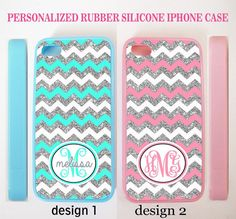 NO GLITTERS WHITE BLUE PINK CHEVRON CUSTOM MONOGRAM CASE FOR IPHONE 8+ 8 7 6S SE #UnbrandedGeneric