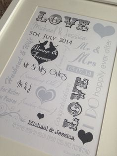 Black & white wedding Wordart. Personalise yours at www.dolliegraphics.co.uk