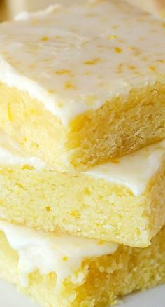 Glazed Lemon Brownies ~ Soft, Moist and delicious Lemon Dessert Recipes, Lemon Recipes, Sweets Recipes, Brownie Recipes, Just Desserts, Baking Recipes, Cookie Recipes, Delicious Desserts, Yummy Food