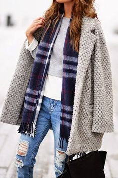 Grey Beaded Coat scarf and distressed jeans.