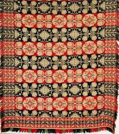 558: Triple bird border jacquard pattern coverlet : Lot 558