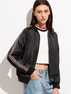 Black Striped Sleeve Zip Up Bomber Jacket