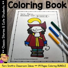 You will LOVE the 119 coloring pages that this Classic Stories Coloring Pages and Cute Students Coloring Pages Bundle has for your classroom. Terrific for a daily coloring page OR have a parent volunt Spring Coloring Pages, Cool Coloring Pages, Coloring Books, Kindergarten Coloring Pages, Kindergarten Colors, Parent Volunteers, Earth Day Activities, Color Crayons, Book Names