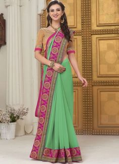 Light Sea Green Embroidery Work Georgette Banarasi Designer Party Wear Sarees http://www.angelnx.com/Sarees/Party-Wear-Sarees