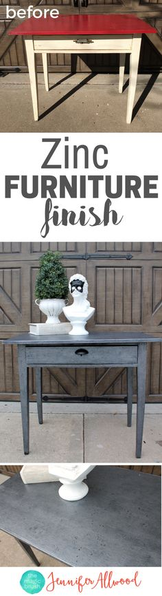 How to paint a Zinc Furniture Finish | Silver Painted Furniture Ideas | DIY Furniture Finish | Restoration Hardware inspired faux zinc finish | DIY Video by MagicBrushinc.com | Painted Furniture Before and After | Furniture Makeover