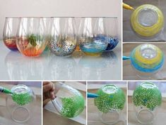how to paint glassware - Decocolor Opaque Paint Markers.   bake in cold oven and then set for 350, once it hits that temp put the timer on for 30 minutes, then turn oven off and let cool in oven.  Hand wash, not dishwasher.