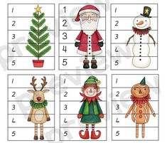 Learn about sequencing and ordering numbers from 1 to 5 with your toddler or child with these cute Christmas number puzzles. Christmas Puzzle, Christmas Math, Christmas Activities For Kids, Preschool Christmas, Christmas Crafts For Kids, Xmas Crafts, Christmas Printables, Christmas Colors, Christmas Themes