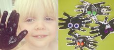 Handprint spiders that are brilliant for Halloween - good messy preschool craft activity that the kids just love!