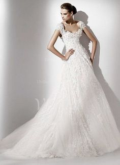 Wedding Dresses - $274.22 - A-Line/Princess Sweetheart Chapel Train Tulle Lace Wedding Dress With Beading (00205001163)