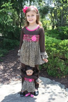 Cheetah Tunic Top with Leggings for Girl and American Girl or Bitty Baby Doll $45 on weeline.com