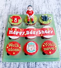 Soccer cupcake 30 Birthday Cake, 35th Birthday, Birthday Gifts, Birthday Parties, Liverpool Cake, Football Cupcakes, Soccer Cake, Best Boyfriend Gifts, Party Themes