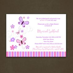 Pink and Purple Butterflies Baby Shower Invitation- for Girl - Printable File on Etsy, $12.00
