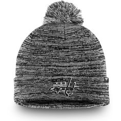 88d6a161790 Men s Washington Capitals Fanatics Branded Black Black and White Cuffed  Knit Hat with Pom