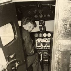 """Amelia Earhart in the Electra cockpit"", ca.1936"