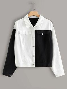 Shein Plus Two Tone Single-breasted Denim Jacket Girls Fashion Clothes, Teen Fashion Outfits, Girl Fashion, Fashion Black, Petite Fashion, 80s Fashion, Curvy Fashion, Denim Fashion, Style Fashion