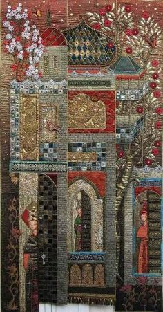 """""""Les petites curieuses"""" by textile artist Isabelle Robert-Tranchet. This exotic wall quilt features appliqué,embroidery, lace & beads. Patchwork Quilting, France Patchwork, Applique Quilts, Patchwork Ideas, Crazy Quilting, Sculpture Textile, Textile Art, Quilt Modernen, House Quilts"""