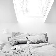 T.D.C | bedroom skylight and crumpled bedlinen via dearleila on Instagram