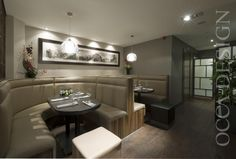 Oriental, Asian Restaurant, Glasgow, Scotland, retail interior, interior design, restaurant interior design, neutral interior, chinese, fixed seating, seating booth