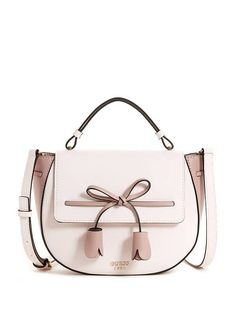 Leila Bow Top Handle Flap Crossbody at Guess Luxury Bags, Luxury Handbags, Purses And Handbags, Leather Saddle Bags, Leather Crossbody, Spring Bags, Cute Bags, Mode Inspiration, Small Bags