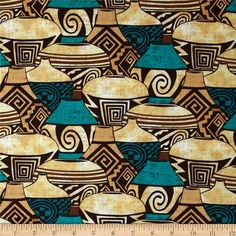 Michael Miller Painted Desert Pueblo Pottery Turquoise from @fabricdotcom  Designed for Michael Miller, this cotton print fabric is perfect for quilting, apparel and home decor accents. Colors include sand, brown and turquoise.