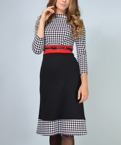 Love this Black & White Houndstooth A-Line Dress - Plus Too on #zulily! #zulilyfinds