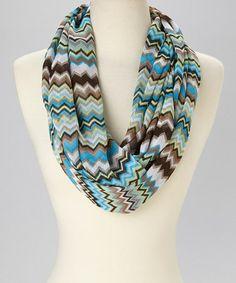 Love this Blue & Brown Zigzag Infinity Scarf on #zulily! #zulilyfinds