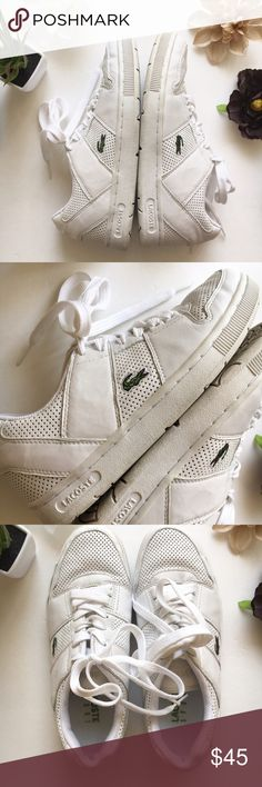 Lacoste Women's White Sneakers EUC. Lots of life left in these! Lacoste Shoes Sneakers