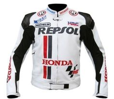 HONDA REPSOL MotoGp MOTORBIKE LEATHER JACKET With Safety pads XS to 6XL - Outerwear