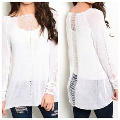"""❄️NEW❄️EDGY WHITE SWEATER!! Holy cow do I love this sweater!!  Sheer knit top features long sleeves and edgy destroyed details. Yes, please!!  100% acrylic. Small:  L28"""" B19"""" W20"""" S/M - 2 M/L - 0 Please comment size needed below.  PLEASE DO NOT BUY THIS LISTING. Allow me to make your separate listing for you or help you make a bundle ❤️.  NO PAYPAL NO TRADES. Price is firm unless bundled. Tops"""