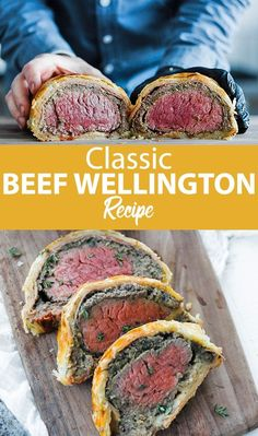 Beef Wellington Recipe - This classic beef wellington recipe has roasted beef tenderloin encrusted in homemade puff pastry with wild mushrooms, prosciutto ham and mustard for the perfect meal to serve up for those elegant parties with friends and family.