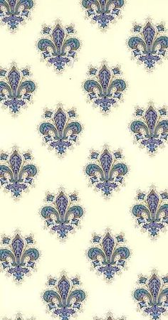 Blue fleur de lis Christmas crafting paper from Italy
