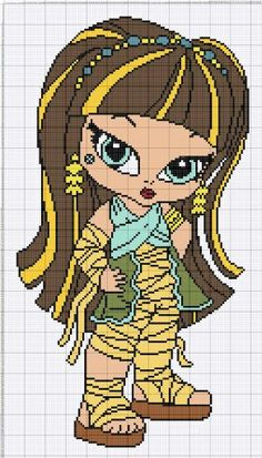 Monster high Crochet Monster High, Monster High Crafts, Monster High Dolls, Plastic Canvas Crafts, Plastic Canvas Patterns, Cross Stitch Designs, Cross Stitch Patterns, Stitch Character, Perler Bead Templates