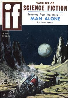 "If vol 8 no 6, October 1958. Cover art by Ed Valigursky titled ""Moonquake."""