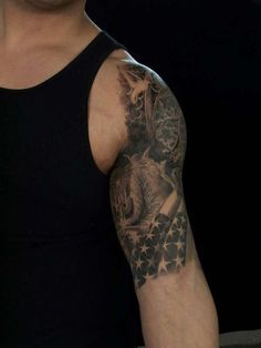 Quarter Sleeve Tattoo Ideas: Awesome Black Quarter Sleeve Tattoo Ideas For Men ~ Sleeve Tattoos Inspiration